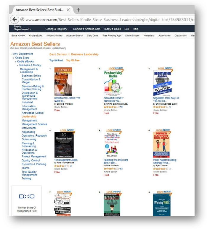 "1° POSIZIONE ASSOLUTA MONDIALE PER L'E-BOOK IN INGLESE ""SEMIOTICS FOR LEADERS"" NELL'AREA BUSINESS LEADERSHIP"