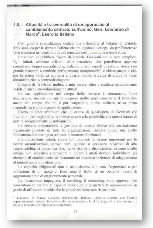 """INIZIO DELLA PREFAZIONE DEL GENERALE DI CORPO D'ARMATA LEONARDO DI MARCO (NATO), SUL TESTO """"REGIE DI CAMBIAMENTO"""""""