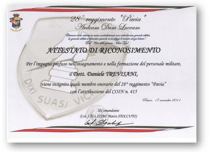 """MEMBRO ONORARIO DEL 28° REGGIMENTO """"PAVIA"""" COMUNICAZIONI OPERATIVE"""