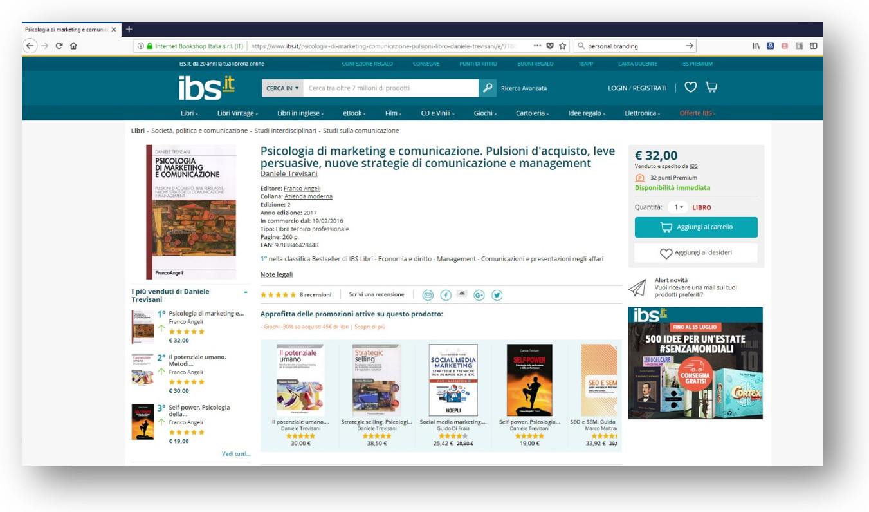 """Testo """"Psicologia di Marketing e Comunicazione"""" al 1° posto assoluto di IBS per la categoria """"Comunicazioni e presentazioni negli affari"""""""