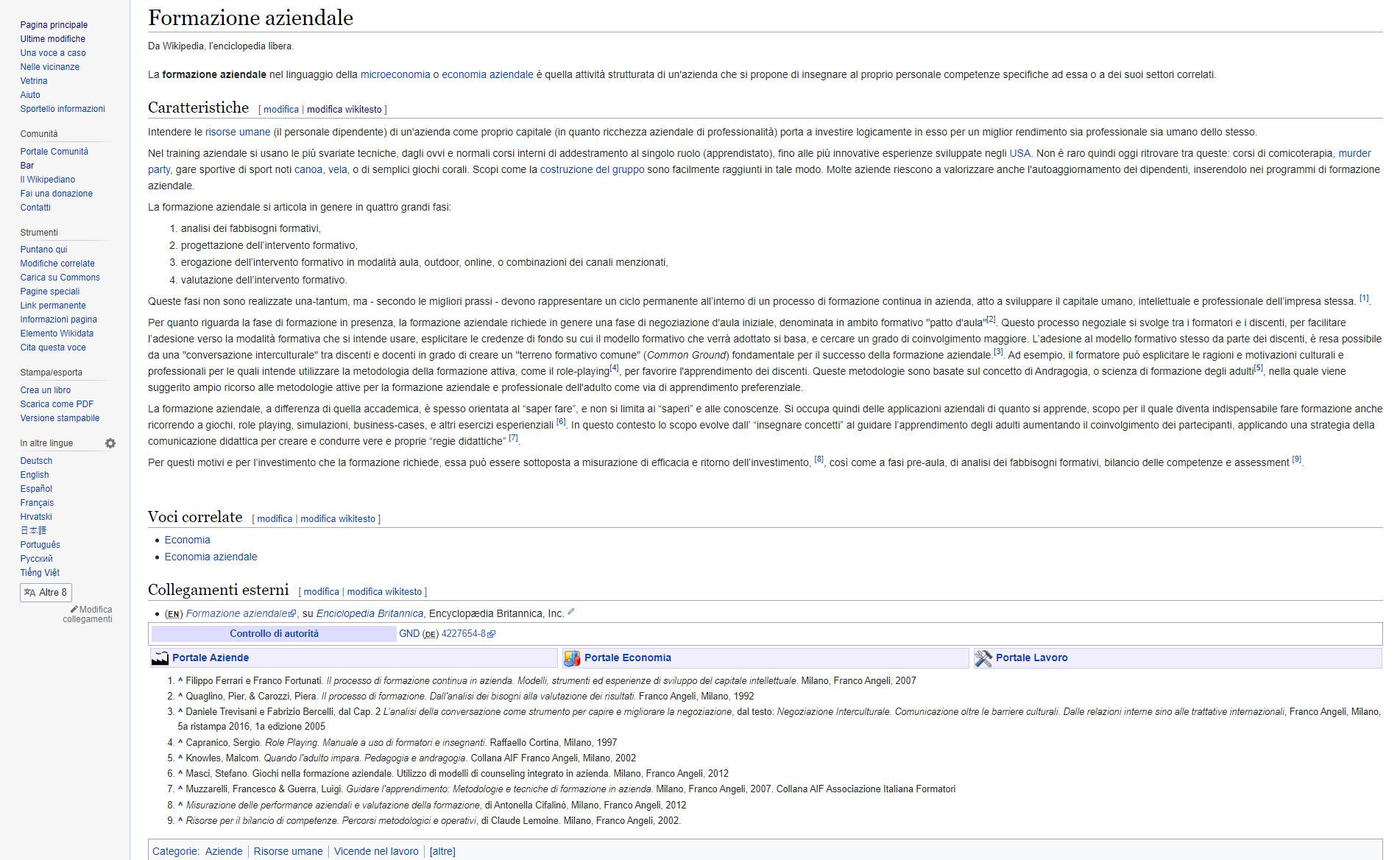 formazione aziendale wikipedia con interventi migliorativi