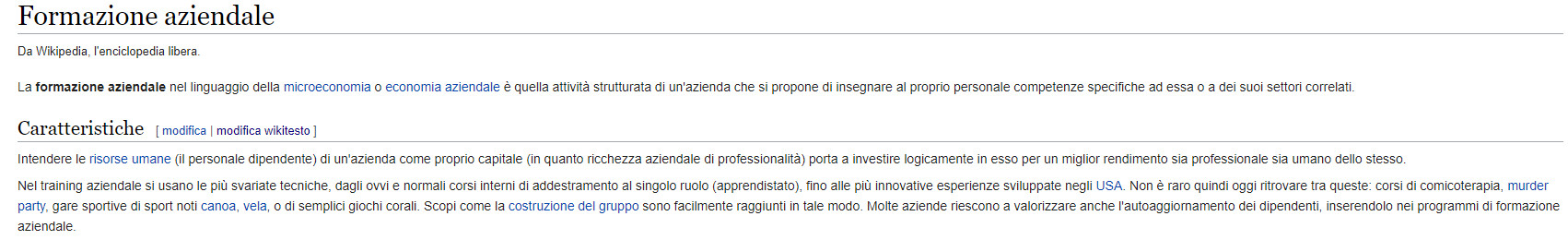formazione aziendale in wikipedia pre-intervento